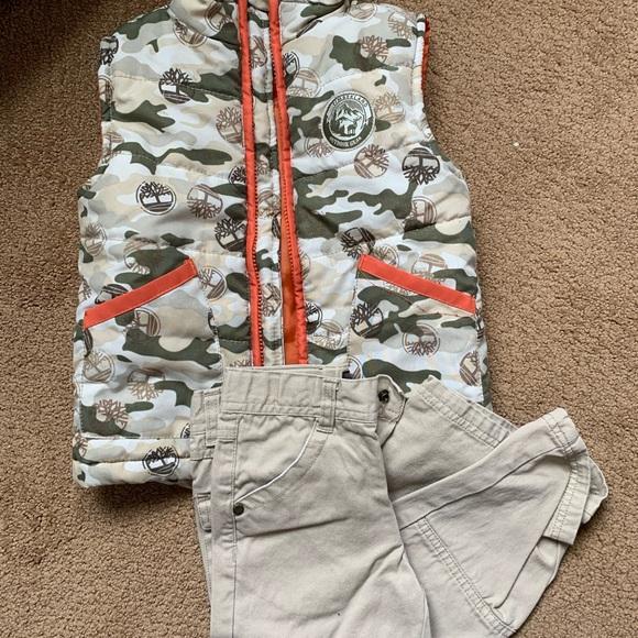 Timberland Other - Timberland 3T Puffer Camo Vest Tan Khaki Pants